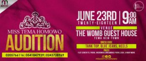 Pink and Gold flyer detailing Miss Tema Homowo Events